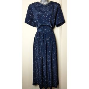 Vintage Talbot's 2 Piece Set Pleated Midi 80's Dot